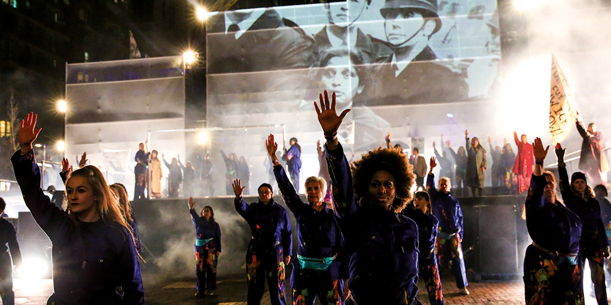 RISE. An outdoor performance to celebrate the launch of Brent's year as London Borough of Culture 2020 hosted by Wembley Park, Saturday 18 January 2020.